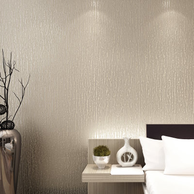 睐可现代简约素色无纺布墙纸 竖条暗花同色壁纸 卧室客厅满铺背景(米