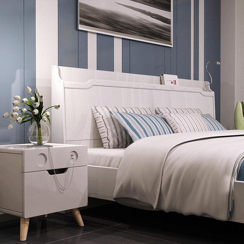 双虎家私智能家具现代简约双人床大床主卧室板式床组合套装15zn1/2