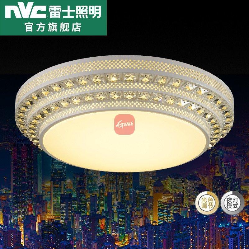 雷士照明led圆形卧室吸顶灯 欧式客厅水晶灯具现代简约温馨大气灯(led