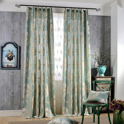 【蓝诗雅】梭织欧式提花窗帘布 客厅卧室窗帘 镜缘(镜缘淡蓝布 半遮光