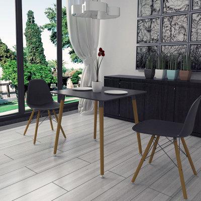 现代简约实木餐桌榉木四人餐桌 长方形餐桌 正方形餐桌(黑色80cm圆形