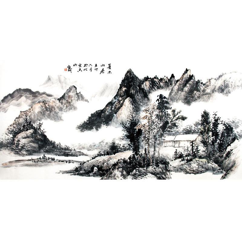 杨海威 夏木山居> 国画 山水画 水墨写意 山水 树木 房屋 横幅