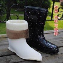 創簡坊(CJIANFF)女式中筒加絨保暖雨鞋棉水鞋雨靴水鞋時尚膠鞋套鞋防滑雪地靴(黑格子單款6)(加棉偏小買大一碼)