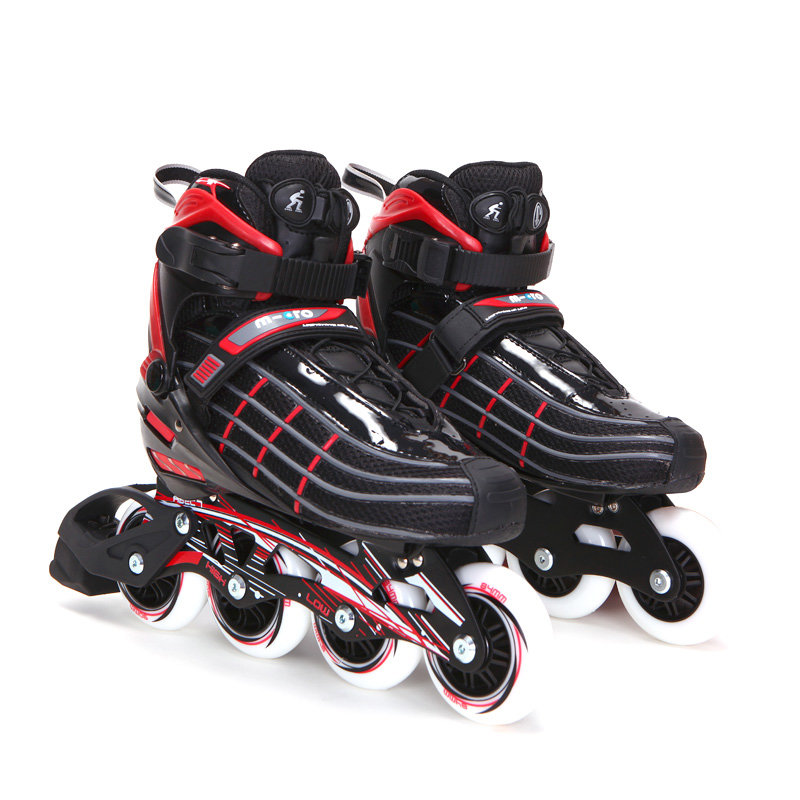 m-cro米高 溜冰鞋成人轮滑鞋男女平花鞋带刹车旱冰鞋sp90(黑红色 38)
