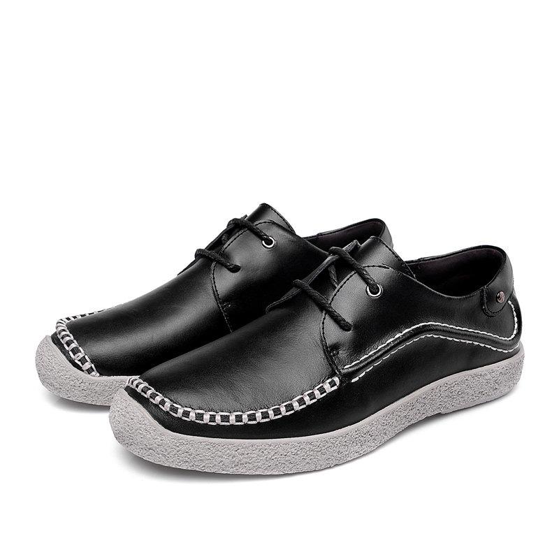 卡尊商务休闲鞋手工休闲皮鞋英伦时尚男鞋HBY1520(黑色 43)第5张商品大图