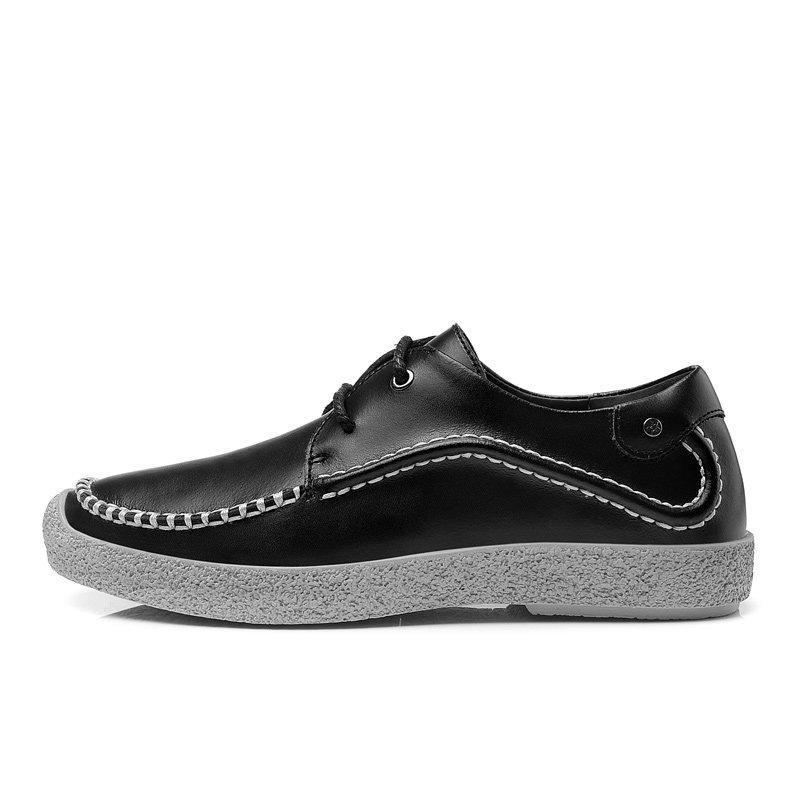 卡尊商务休闲鞋手工休闲皮鞋英伦时尚男鞋HBY1520(黑色 43)第2张商品大图