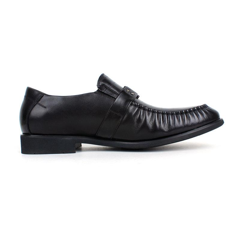 意尔康男鞋经典商务男圆头低帮真皮皮鞋平跟鳄鱼纹正装单鞋潮93361(黑色 44)第5张商品大图