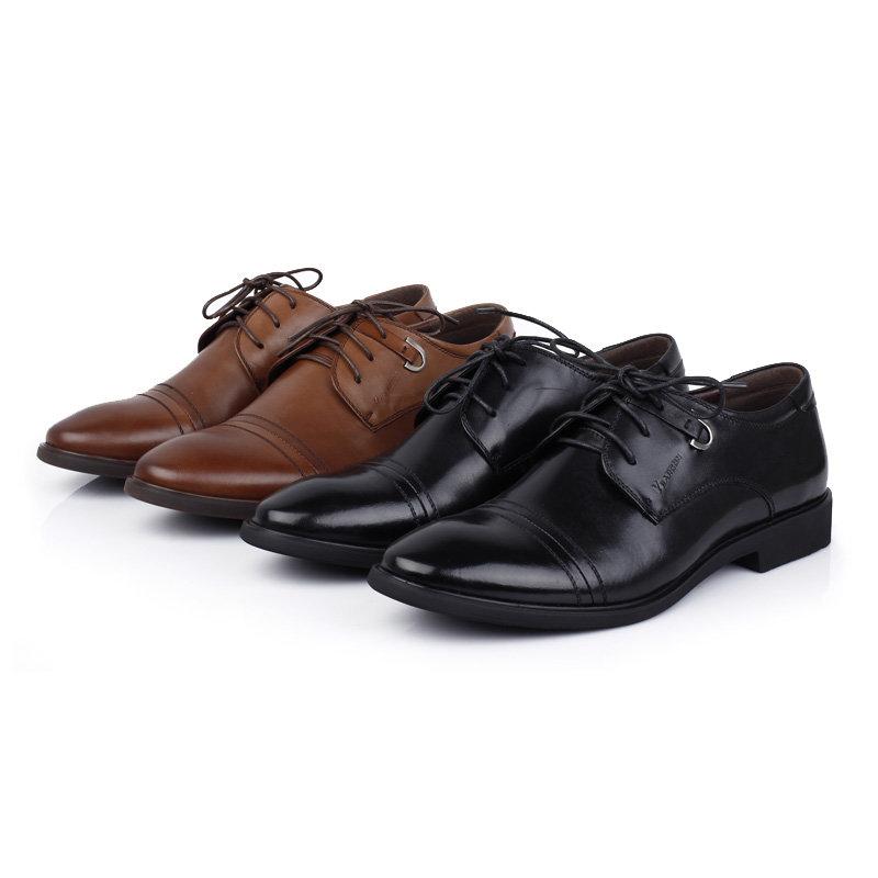 意尔康男鞋时尚英伦商务正装皮鞋男士办公室真皮百搭皮鞋男51301(棕色 51301 38)第3张商品大图