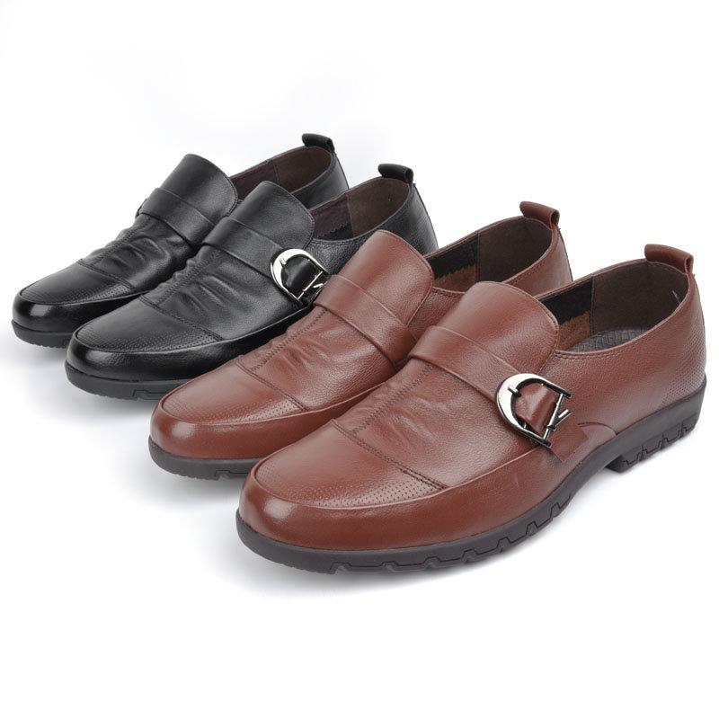 意尔康男鞋套商务休闲真皮皮鞋舒适透气男士单鞋单层皮男鞋61341(红棕色 61341 44)第2张商品大图