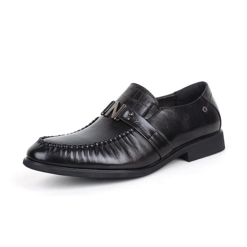 意尔康男鞋经典商务男圆头低帮真皮皮鞋平跟鳄鱼纹正装单鞋潮93361(黑色 44)第2张商品大图