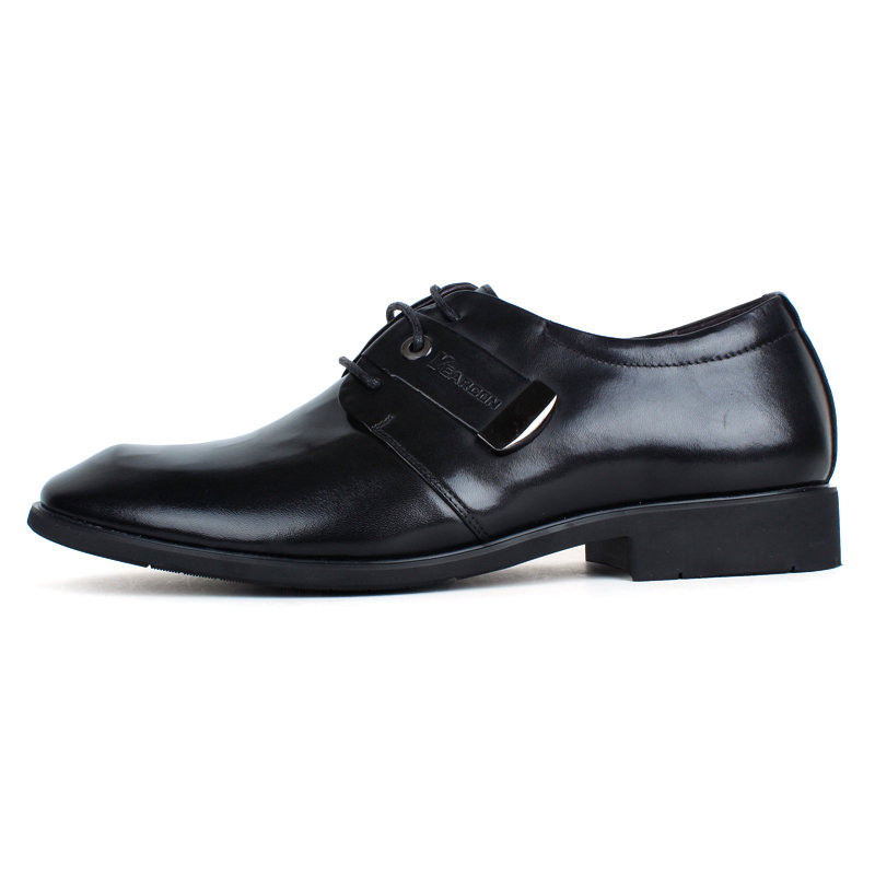 意尔康系带低帮鞋真皮男士商务正装鞋百搭皮鞋英伦男单鞋94626(黑色 38)第4张商品大图